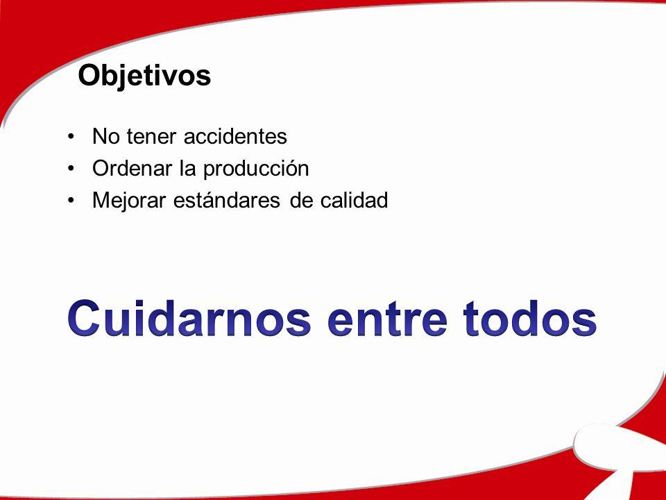Objetivos No tener accidentes Ordenar la producción Mejorar estándares de calidad