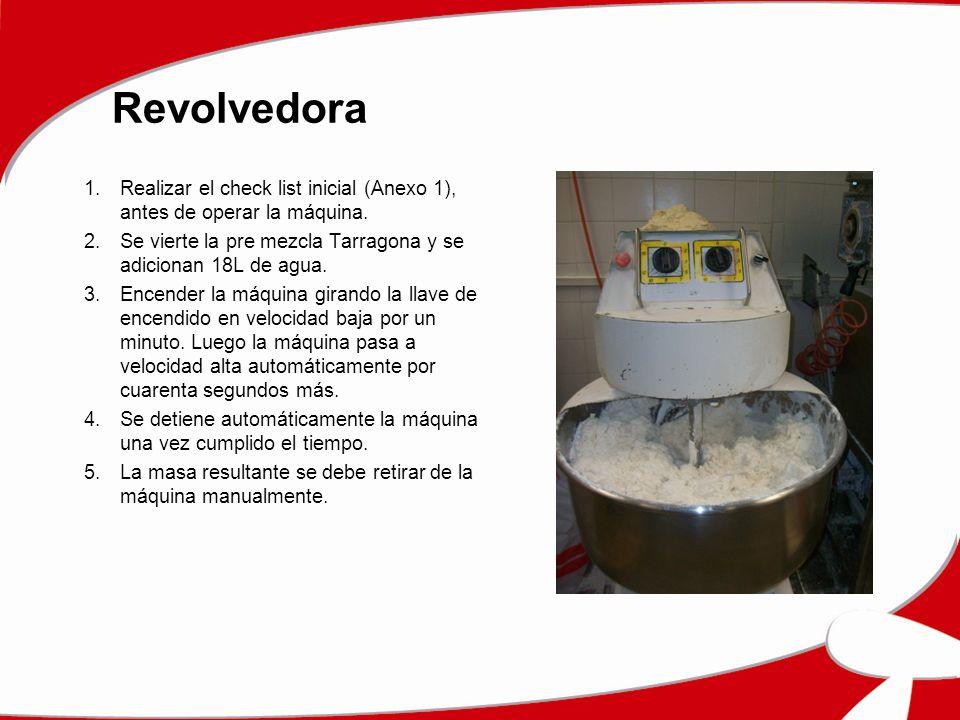 Revolvedora 1.Realizar el check list inicial (Anexo 1), antes de operar la máquina. 2.Se vierte la pre mezcla Tarragona y se adicionan 18L de agua. 3.