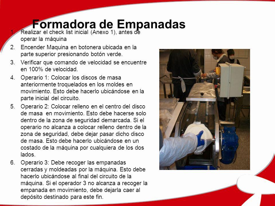 Formadora de Empanadas 1.Realizar el check list inicial (Anexo 1), antes de operar la máquina 2.Encender Maquina en botonera ubicada en la parte super