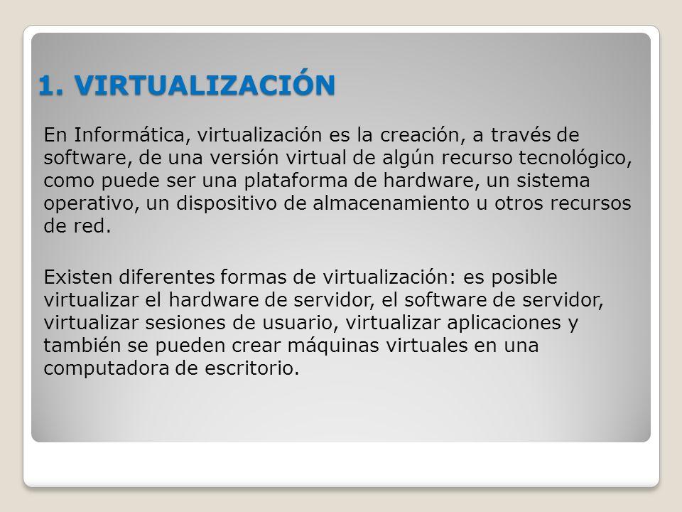 1. VIRTUALIZACIÓN En Informática, virtualización es la creación, a través de software, de una versión virtual de algún recurso tecnológico, como puede