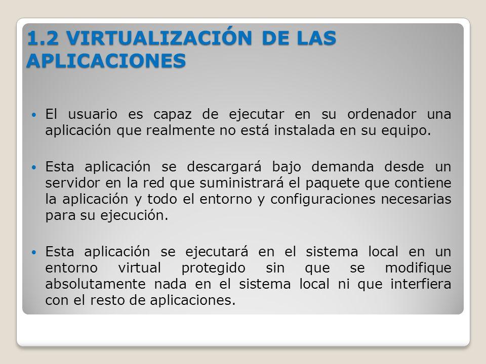 1.2 VIRTUALIZACIÓN DE LAS APLICACIONES El usuario es capaz de ejecutar en su ordenador una aplicación que realmente no está instalada en su equipo.