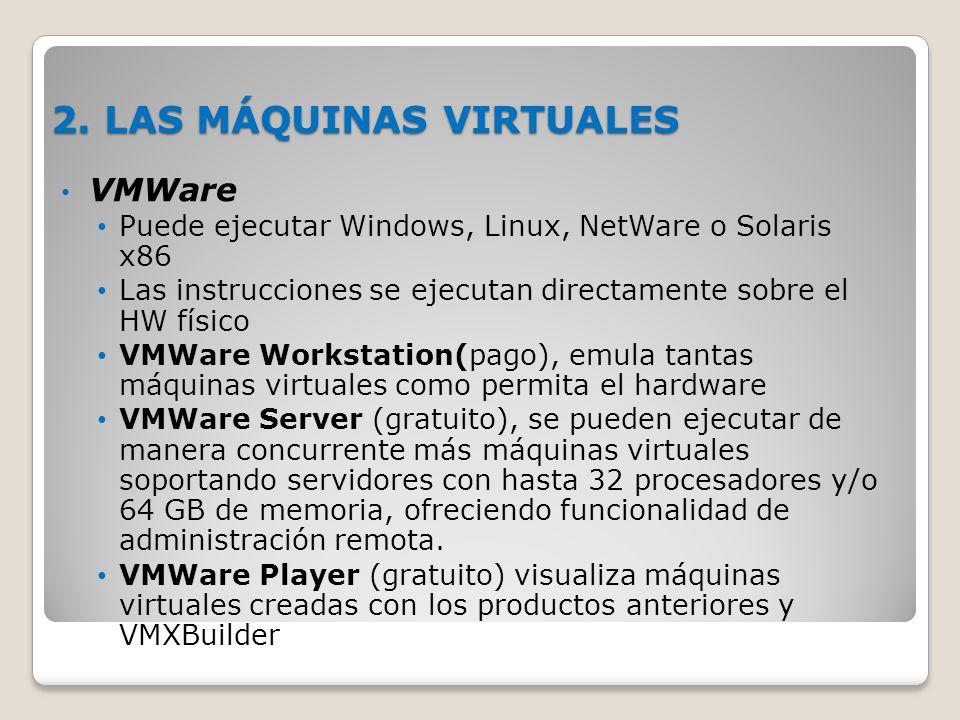 2. LAS MÁQUINAS VIRTUALES VMWare Puede ejecutar Windows, Linux, NetWare o Solaris x86 Las instrucciones se ejecutan directamente sobre el HW físico VM