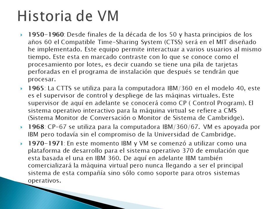 1985: Es por este año cuando se amplia la capacidad de red, se introduce programables de pantalla completa, un editor rudimentario del menú de apoyo, y lenguajes para el procedimiento de EXE-2 y REXX, así como el particionamiento lógico de los grandes equipos VM.