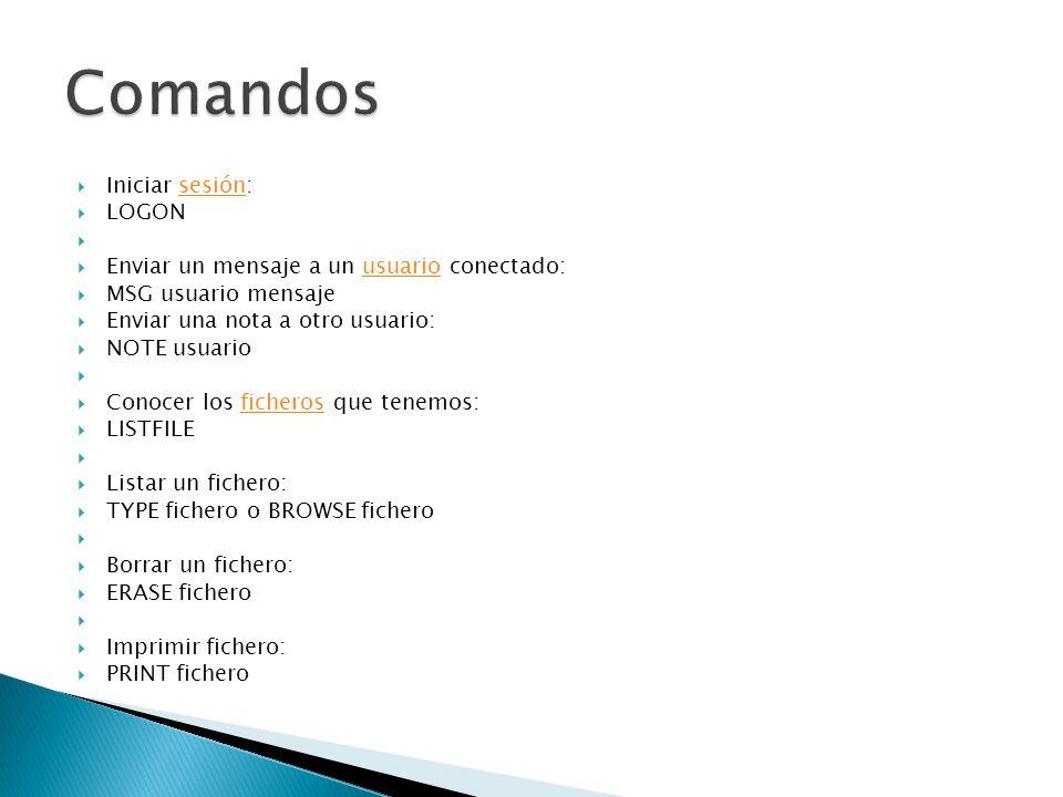 Iniciar sesión:sesión LOGON Enviar un mensaje a un usuario conectado:usuario MSG usuario mensaje Enviar una nota a otro usuario: NOTE usuario Conocer