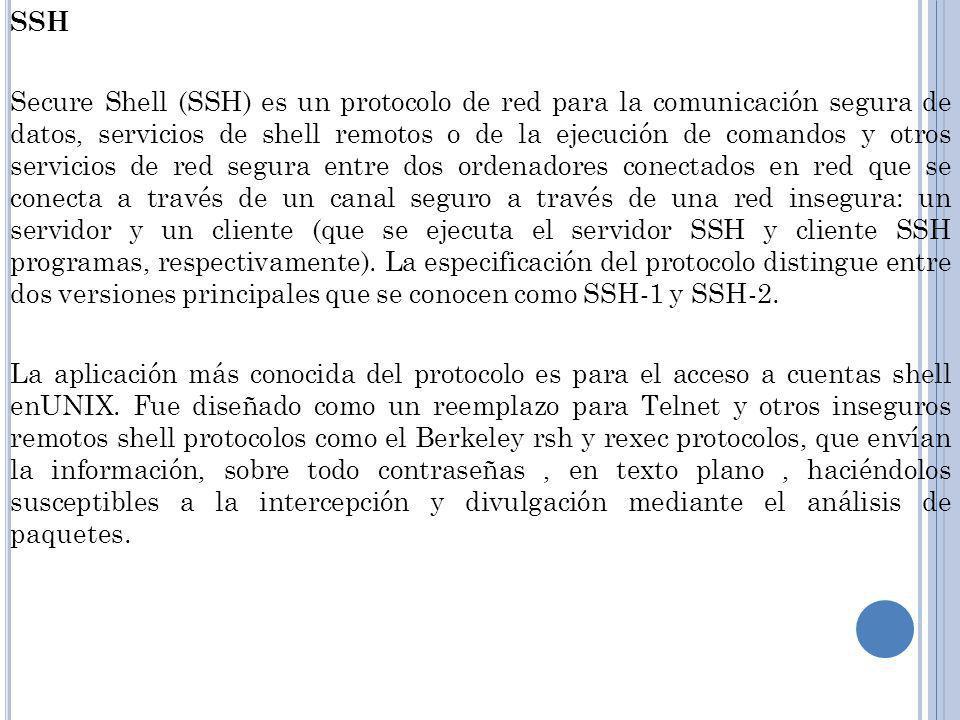 SSH Secure Shell (SSH) es un protocolo de red para la comunicación segura de datos, servicios de shell remotos o de la ejecución de comandos y otros servicios de red segura entre dos ordenadores conectados en red que se conecta a través de un canal seguro a través de una red insegura: un servidor y un cliente (que se ejecuta el servidor SSH y cliente SSH programas, respectivamente).