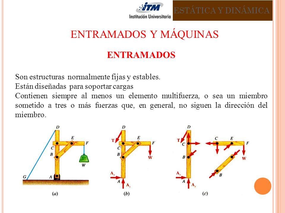 ENTRAMADOS Son estructuras normalmente fijas y estables. Están diseñadas para soportar cargas Contienen siempre al menos un elemento multifuerza, o se