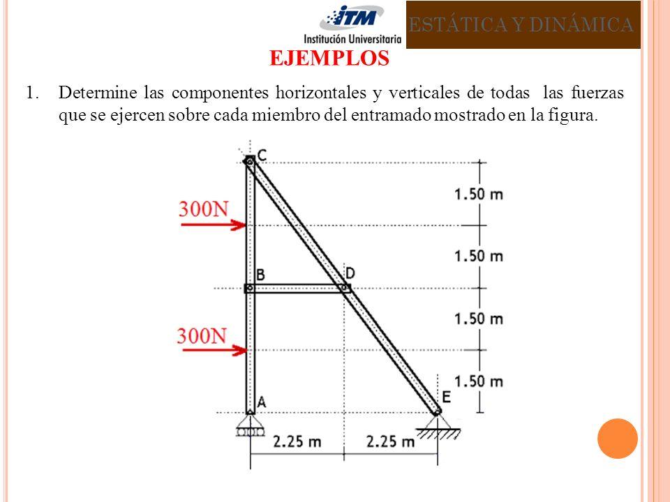 1.Determine las componentes horizontales y verticales de todas las fuerzas que se ejercen sobre cada miembro del entramado mostrado en la figura. ESTÁ