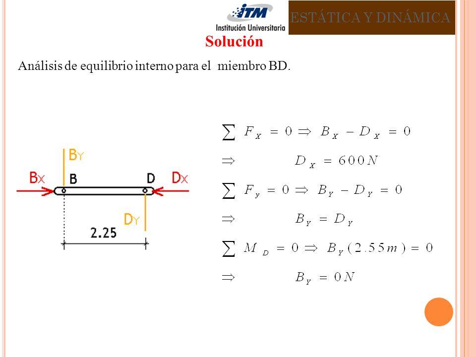 Análisis de equilibrio interno para el miembro BD. ESTÁTICA Y DINÁMICA Solución
