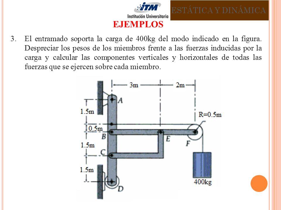 3.El entramado soporta la carga de 400kg del modo indicado en la figura. Despreciar los pesos de los miembros frente a las fuerzas inducidas por la ca