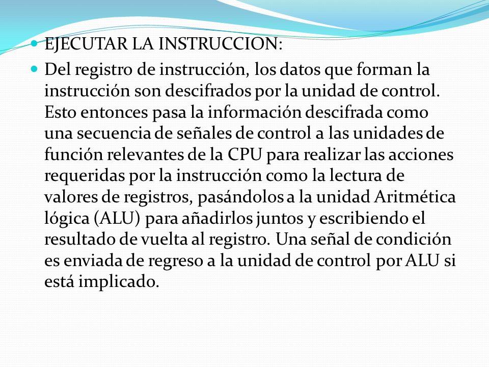 EJECUTAR LA INSTRUCCION: Del registro de instrucción, los datos que forman la instrucción son descifrados por la unidad de control. Esto entonces pasa