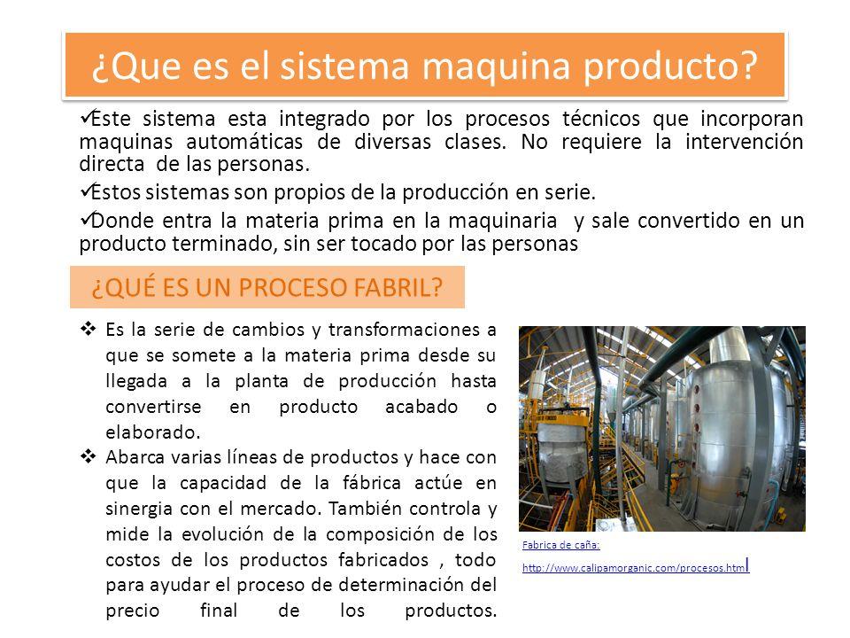 ¿Que es el sistema maquina producto? Este sistema esta integrado por los procesos técnicos que incorporan maquinas automáticas de diversas clases. No