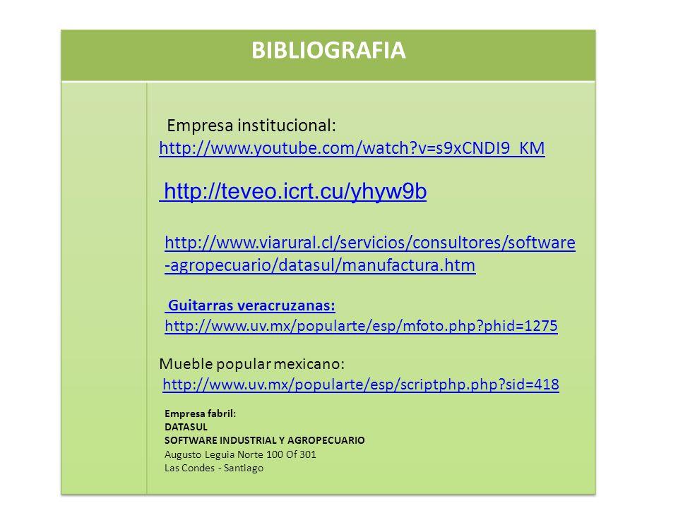 Empresa institucional: http://www.youtube.com/watch?v=s9xCNDI9_KM http://www.youtube.com/watch?v=s9xCNDI9_KM http://teveo.icrt.cu/yhyw9b http://www.viarural.cl/servicios/consultores/software -agropecuario/datasul/manufactura.htm Guitarras veracruzanas: http://www.uv.mx/popularte/esp/mfoto.php?phid=1275 Mueble popular mexicano: http://www.uv.mx/popularte/esp/scriptphp.php?sid=418 Empresa fabril: DATASUL SOFTWARE INDUSTRIAL Y AGROPECUARIO Augusto Leguia Norte 100 Of 301 Las Condes - Santiago