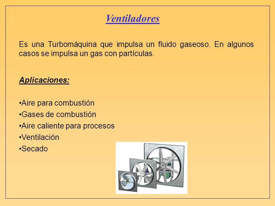Ventiladores Es una Turbomáquina que impulsa un fluido gaseoso. En algunos casos se impulsa un gas con partículas. Aplicaciones: Aire para combustión