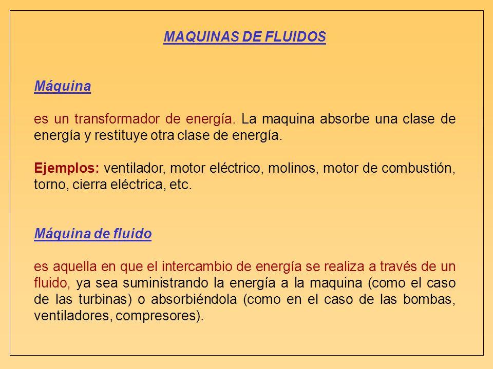 MAQUINAS DE FLUIDOS Máquina es un transformador de energía. La maquina absorbe una clase de energía y restituye otra clase de energía. Ejemplos: venti