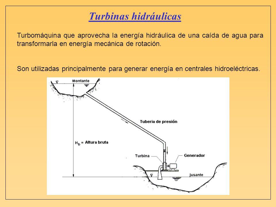 Turbinas hidráulicas Turbomáquina que aprovecha la energía hidráulica de una caída de agua para transformarla en energía mecánica de rotación. Son uti