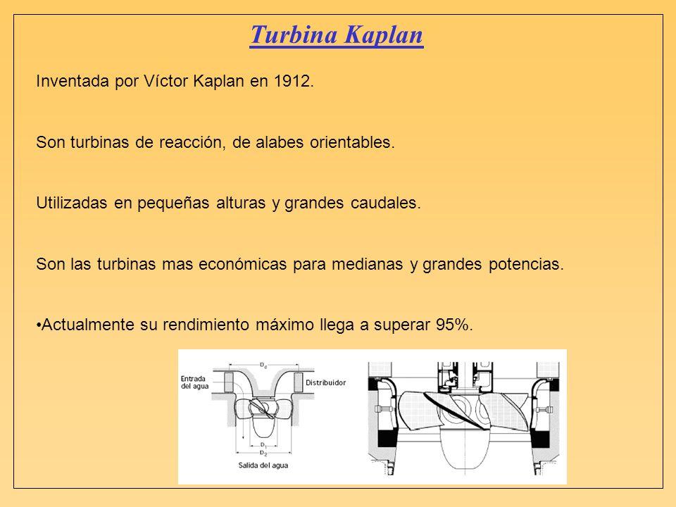 Turbina Kaplan Inventada por Víctor Kaplan en 1912. Son turbinas de reacción, de alabes orientables. Utilizadas en pequeñas alturas y grandes caudales