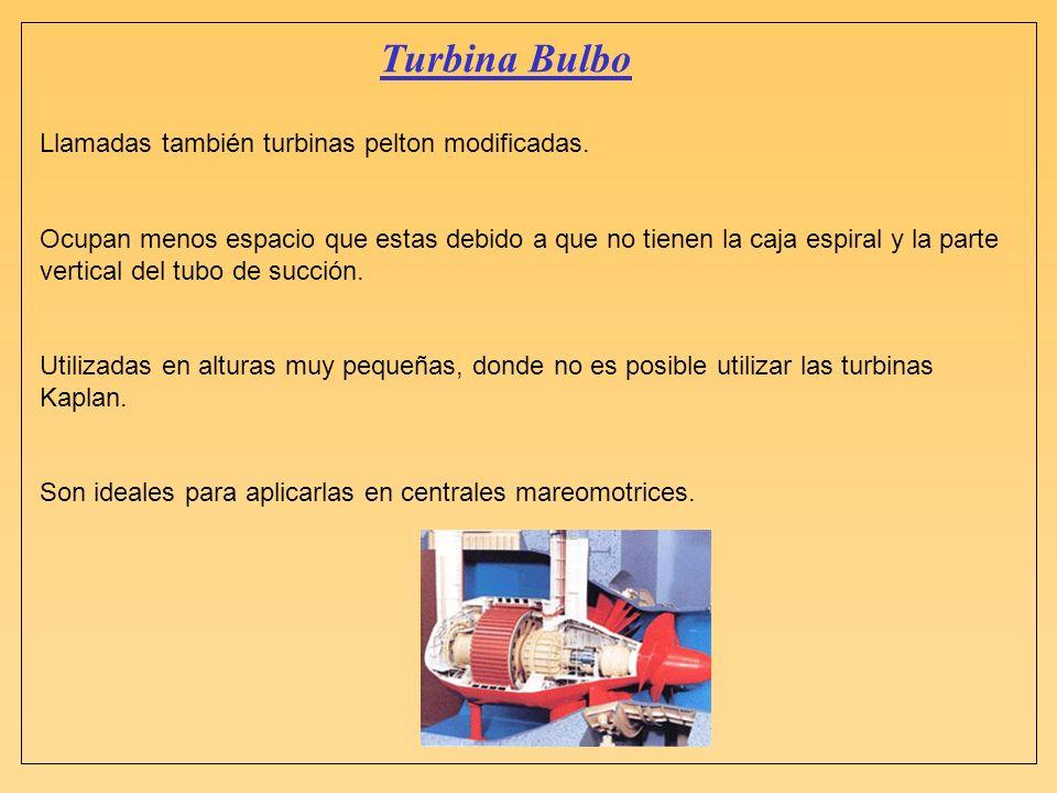 Turbina Bulbo Llamadas también turbinas pelton modificadas. Ocupan menos espacio que estas debido a que no tienen la caja espiral y la parte vertical