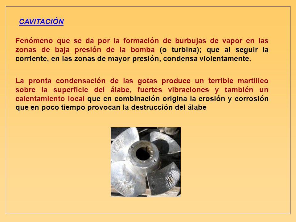 CAVITACIÓN Fenómeno que se da por la formación de burbujas de vapor en las zonas de baja presión de la bomba (o turbina); que al seguir la corriente,