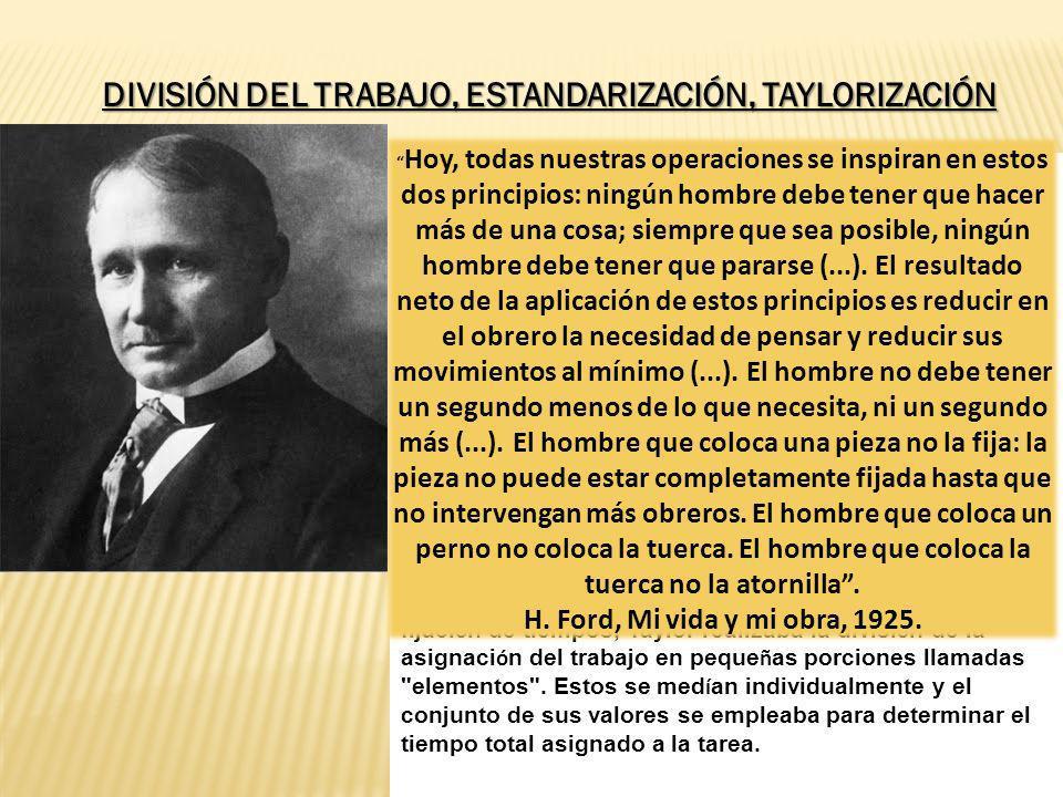 Taylor empez ó su trabajo en el estudio de tiempos en 1881 cuando laboraba en la Midvale Steel Company de Filadelfia. Despu é s de 12 a ñ os desarroll