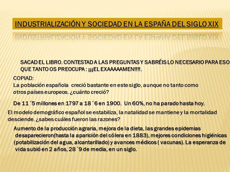 SACAD EL LIBRO. CONTESTAD A LAS PREGUNTAS Y SABRÉIS LO NECESARIO PARA ESO QUE TANTO OS PREOCUPA : ¡¡¡EL EXAAAAAMEN!!!!. COPIAD: La población española