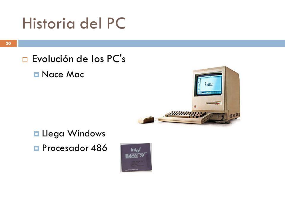 Historia del PC 20 Evolución de los PC's Nace Mac Llega Windows Procesador 486