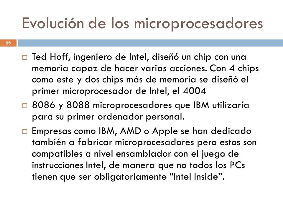 Evolución de los microprocesadores 23 Ted Hoff, ingeniero de Intel, diseñó un chip con una memoria capaz de hacer varias acciones. Con 4 chips como es
