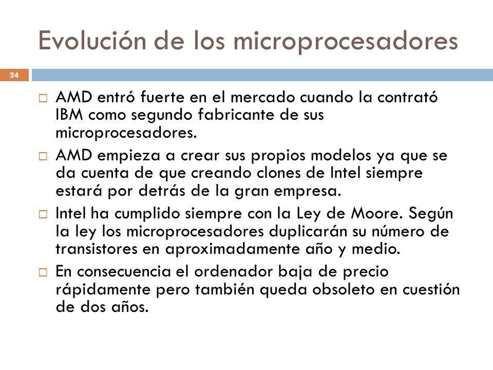 Evolución de los microprocesadores 24 AMD entró fuerte en el mercado cuando la contrató IBM como segundo fabricante de sus microprocesadores. AMD empi