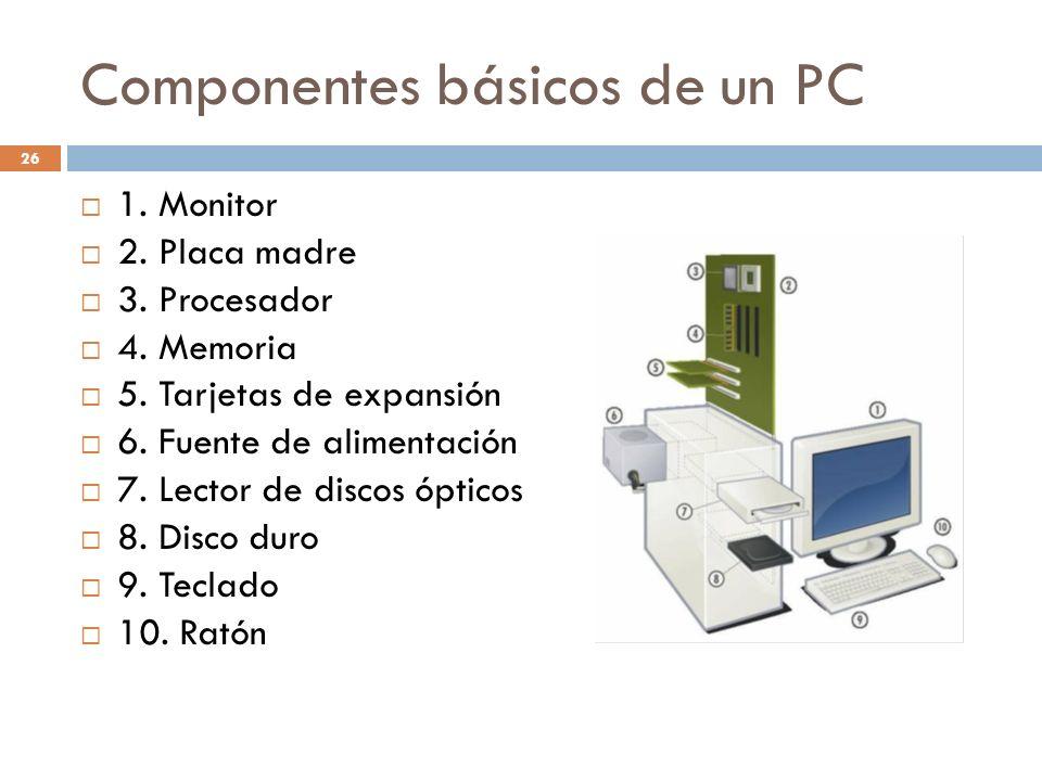 Componentes básicos de un PC 26 1. Monitor 2. Placa madre 3. Procesador 4. Memoria 5. Tarjetas de expansión 6. Fuente de alimentación 7. Lector de dis