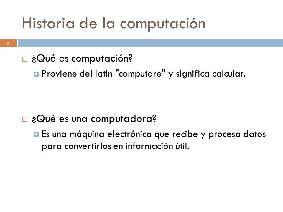 Historia de la computación ¿Qué es computación? Proviene del latin
