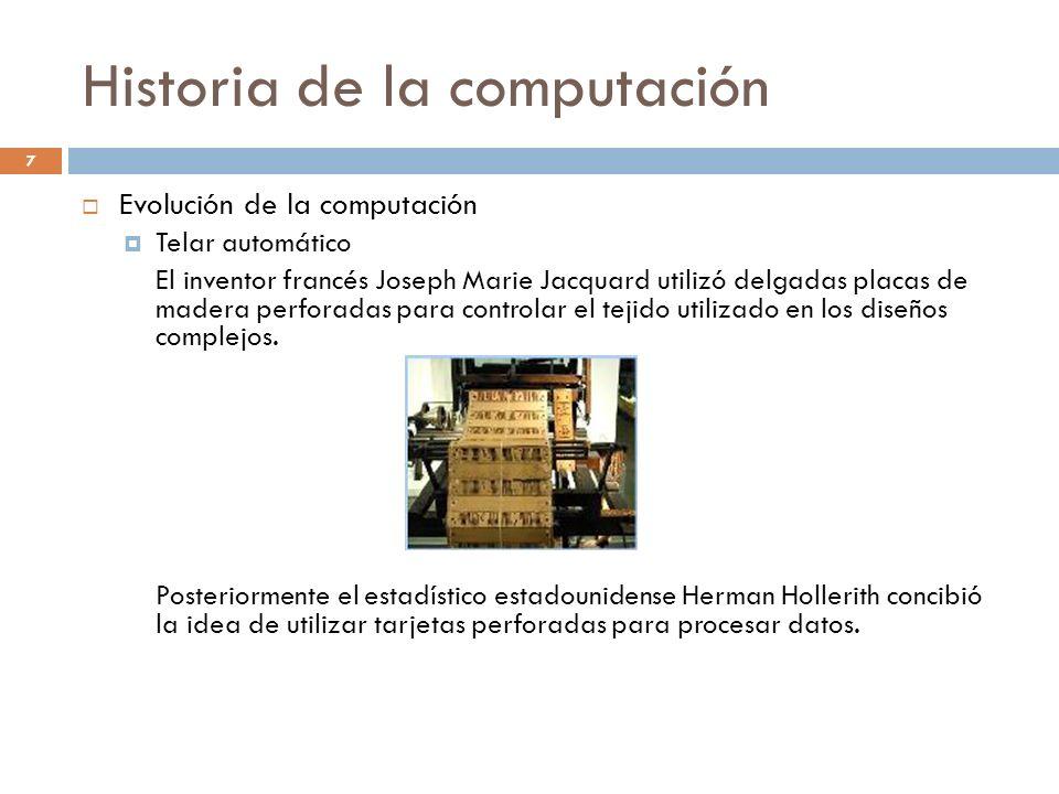 Historia de la computación Evolución de la computación Telar automático El inventor francés Joseph Marie Jacquard utilizó delgadas placas de madera pe