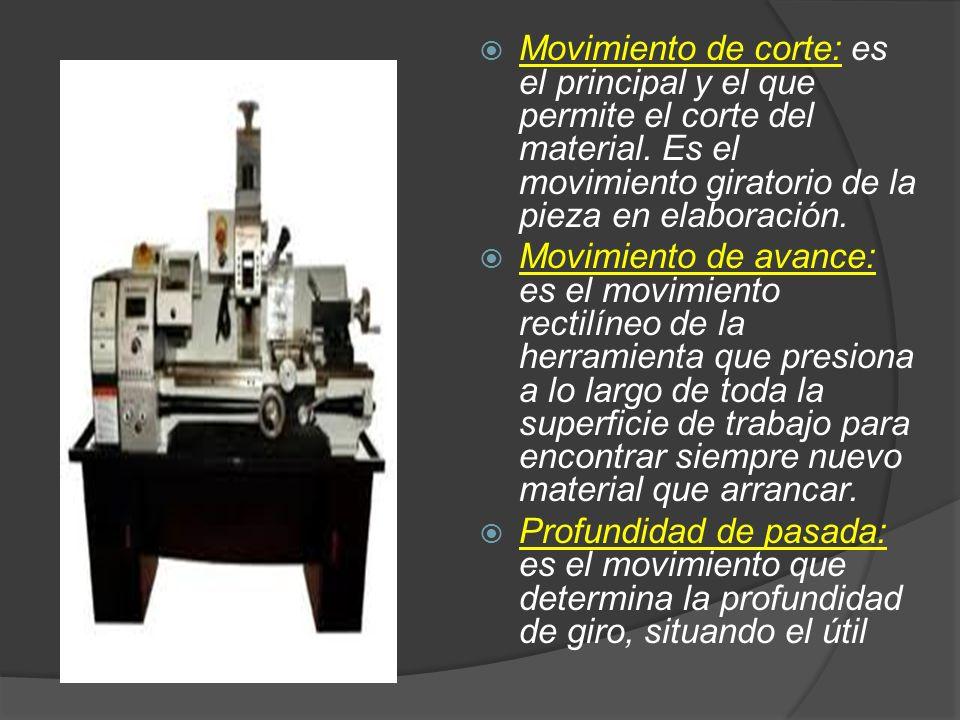 Movimiento de corte: es el principal y el que permite el corte del material. Es el movimiento giratorio de la pieza en elaboración. Movimiento de avan