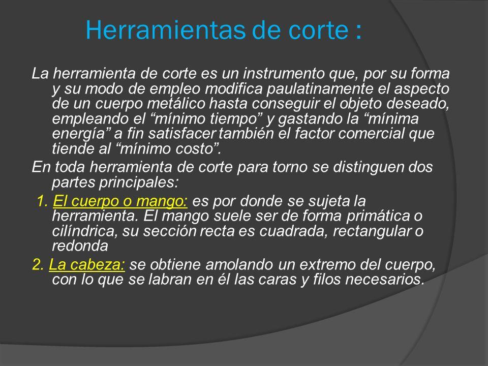 Herramientas de corte : La herramienta de corte es un instrumento que, por su forma y su modo de empleo modifica paulatinamente el aspecto de un cuerp