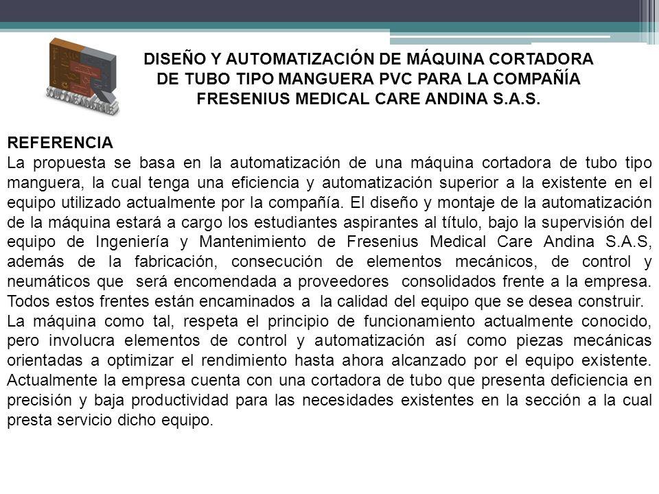 REFERENCIA La propuesta se basa en la automatización de una máquina cortadora de tubo tipo manguera, la cual tenga una eficiencia y automatización sup
