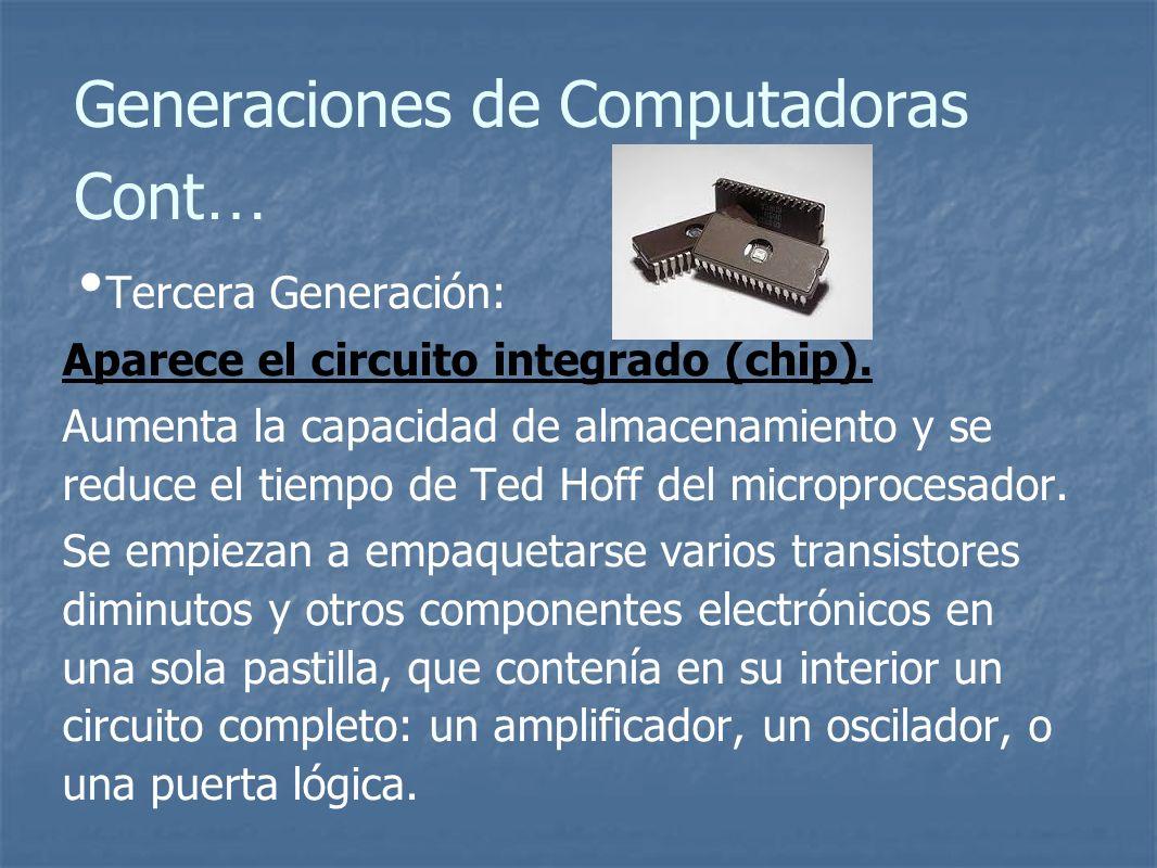 Generaciones de Computadoras Cont … Tercera Generación: Aparece el circuito integrado (chip).