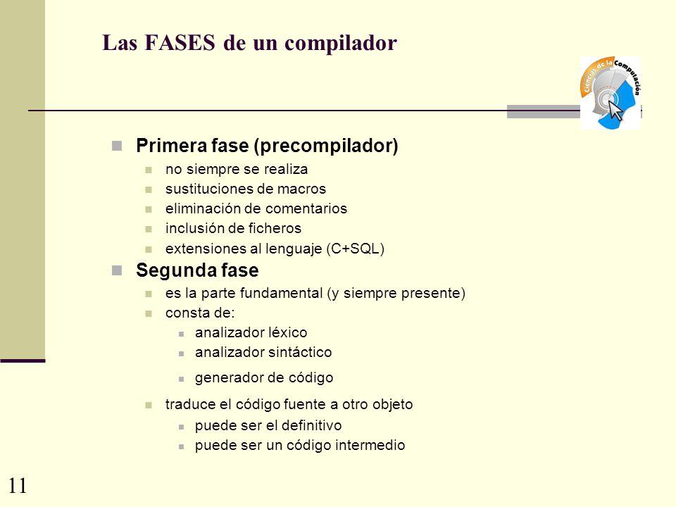 Las FASES de un compilador Primera fase (precompilador) no siempre se realiza sustituciones de macros eliminación de comentarios inclusión de ficheros extensiones al lenguaje (C+SQL) Segunda fase es la parte fundamental (y siempre presente) consta de: analizador léxico analizador sintáctico generador de código traduce el código fuente a otro objeto puede ser el definitivo puede ser un código intermedio 11