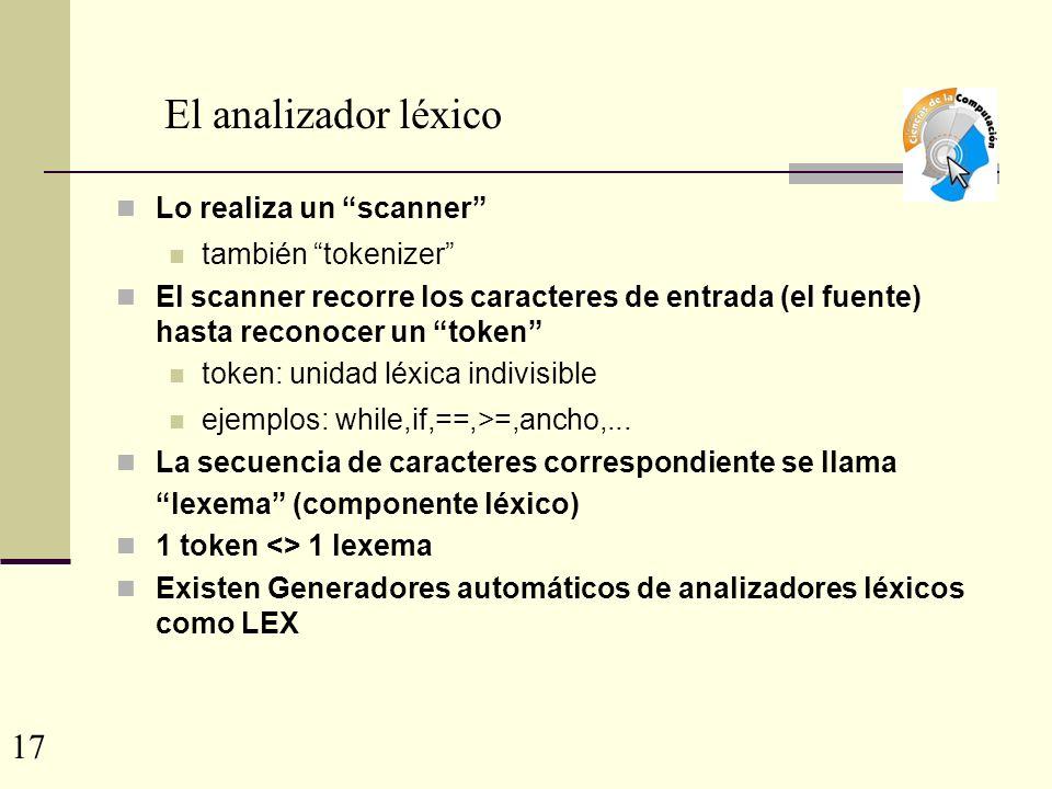 El analizador léxico Lo realiza un scanner también tokenizer El scanner recorre los caracteres de entrada (el fuente) hasta reconocer un token token: unidad léxica indivisible ejemplos: while,if,==,>=,ancho,...