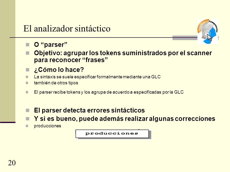 El analizador sintáctico O parser Objetivo: agrupar los tokens suministrados por el scanner para reconocer frases ¿Cómo lo hace.