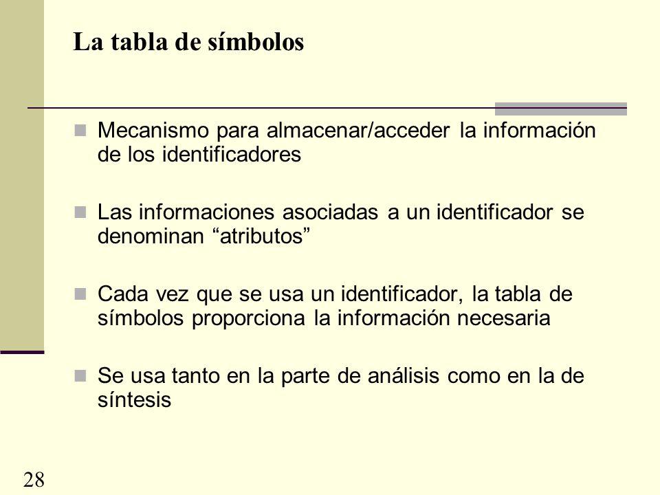 La tabla de símbolos Mecanismo para almacenar/acceder la información de los identificadores Las informaciones asociadas a un identificador se denominan atributos Cada vez que se usa un identificador, la tabla de símbolos proporciona la información necesaria Se usa tanto en la parte de análisis como en la de síntesis 28