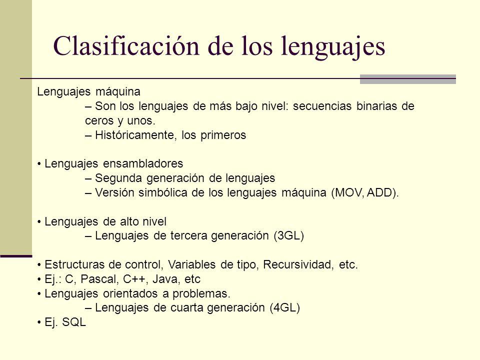 Clasificación de los lenguajes Lenguajes máquina – Son los lenguajes de más bajo nivel: secuencias binarias de ceros y unos.