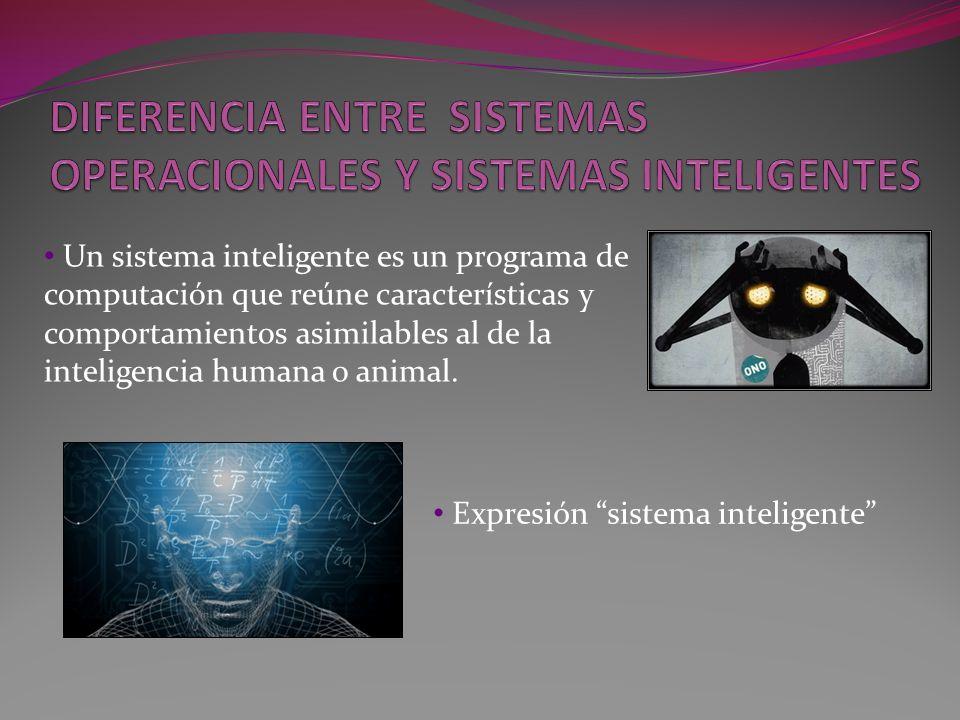 Un sistema inteligente es un programa de computación que reúne características y comportamientos asimilables al de la inteligencia humana o animal. Ex