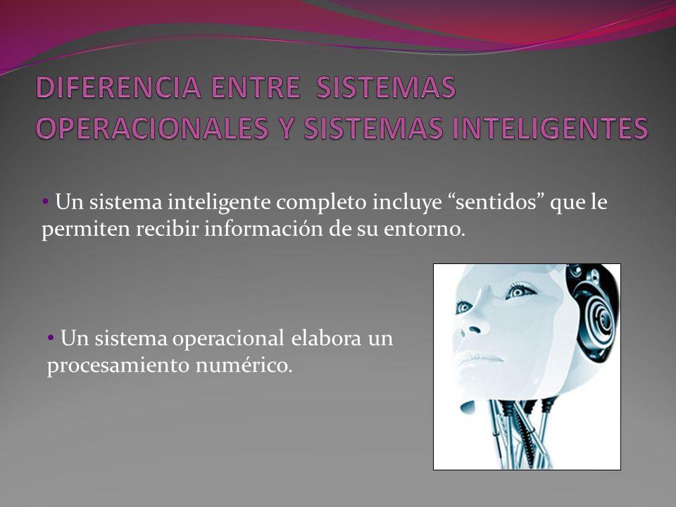 Un sistema inteligente completo incluye sentidos que le permiten recibir información de su entorno. Un sistema operacional elabora un procesamiento nu