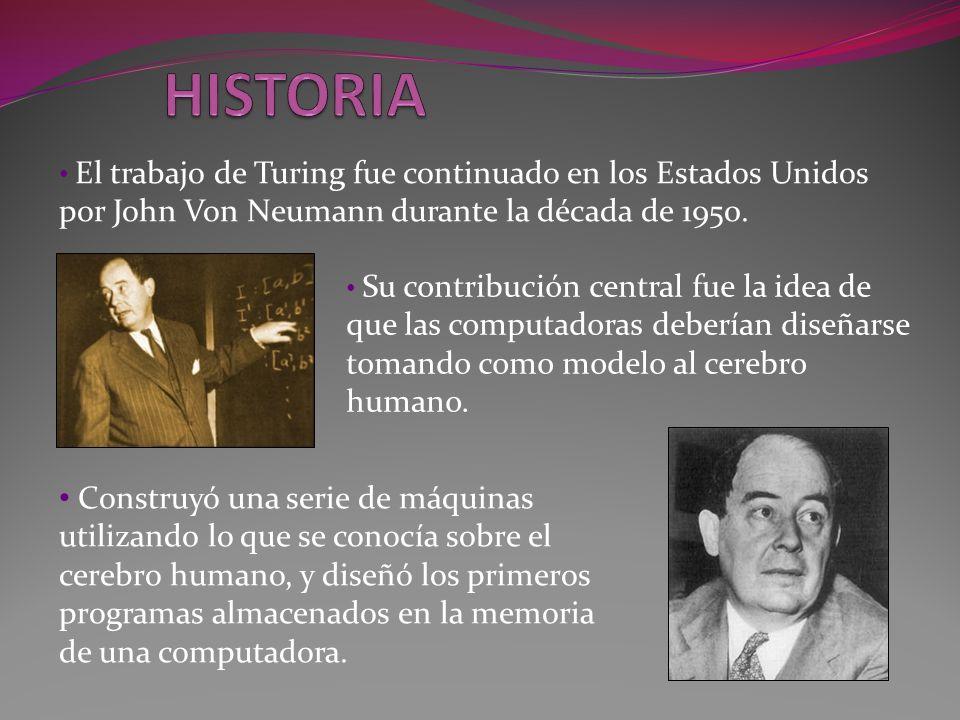 Su contribución central fue la idea de que las computadoras deberían diseñarse tomando como modelo al cerebro humano. El trabajo de Turing fue continu