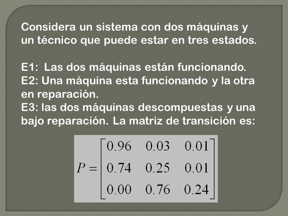 Considera un sistema con dos máquinas y un técnico que puede estar en tres estados. E1: Las dos máquinas están funcionando. E2: Una máquina esta funci