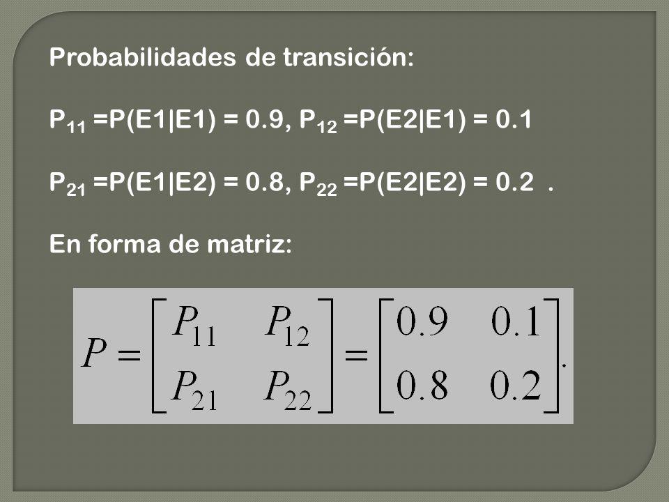 Probabilidades de transición: P 11 =P(E1|E1) = 0.9, P 12 =P(E2|E1) = 0.1 P 21 =P(E1|E2) = 0.8, P 22 =P(E2|E2) = 0.2. En forma de matriz: