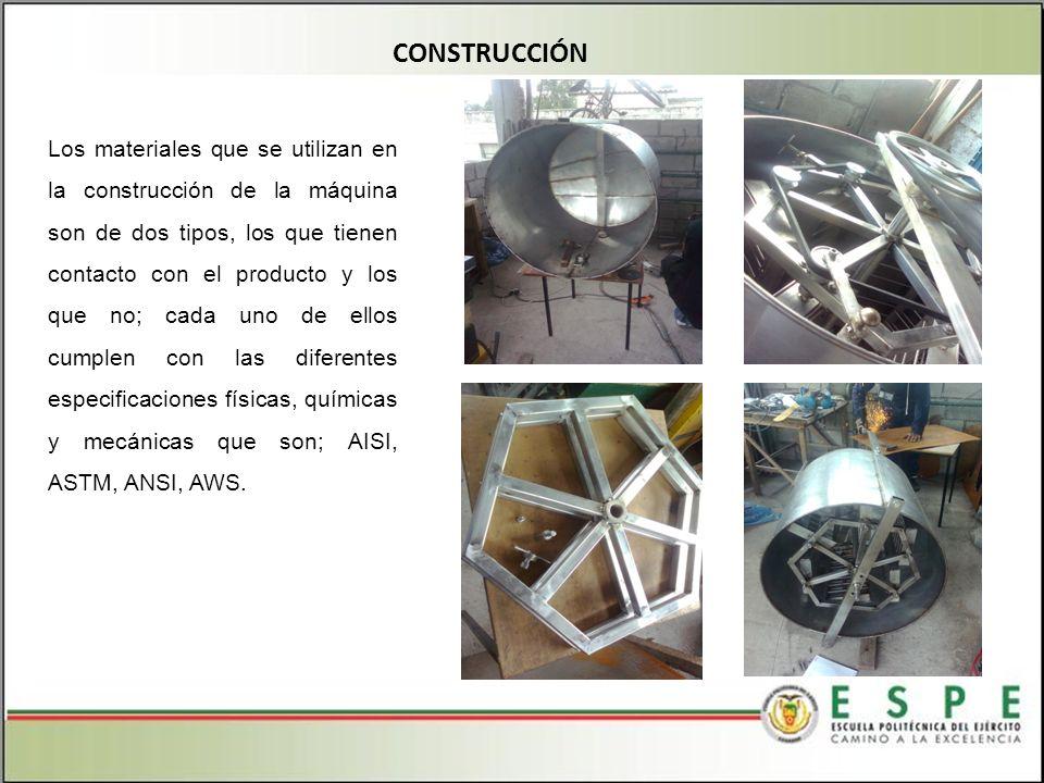 CONSTRUCCIÓN Los materiales que se utilizan en la construcción de la máquina son de dos tipos, los que tienen contacto con el producto y los que no; cada uno de ellos cumplen con las diferentes especificaciones físicas, químicas y mecánicas que son; AISI, ASTM, ANSI, AWS.