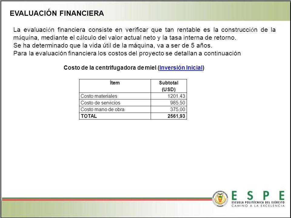 EVALUACIÓN FINANCIERA ÍtemSubtotal (USD) Costo materiales1201,43 Costo de servicios985,50 Costo mano de obra375,00 TOTAL2561,93 Costo de la centrifugadora de miel (Inversión Inicial)Inversión Inicial La evaluaci ó n financiera consiste en verificar que tan rentable es la construcci ó n de la m á quina, mediante el c á lculo del valor actual neto y la tasa interna de retorno.