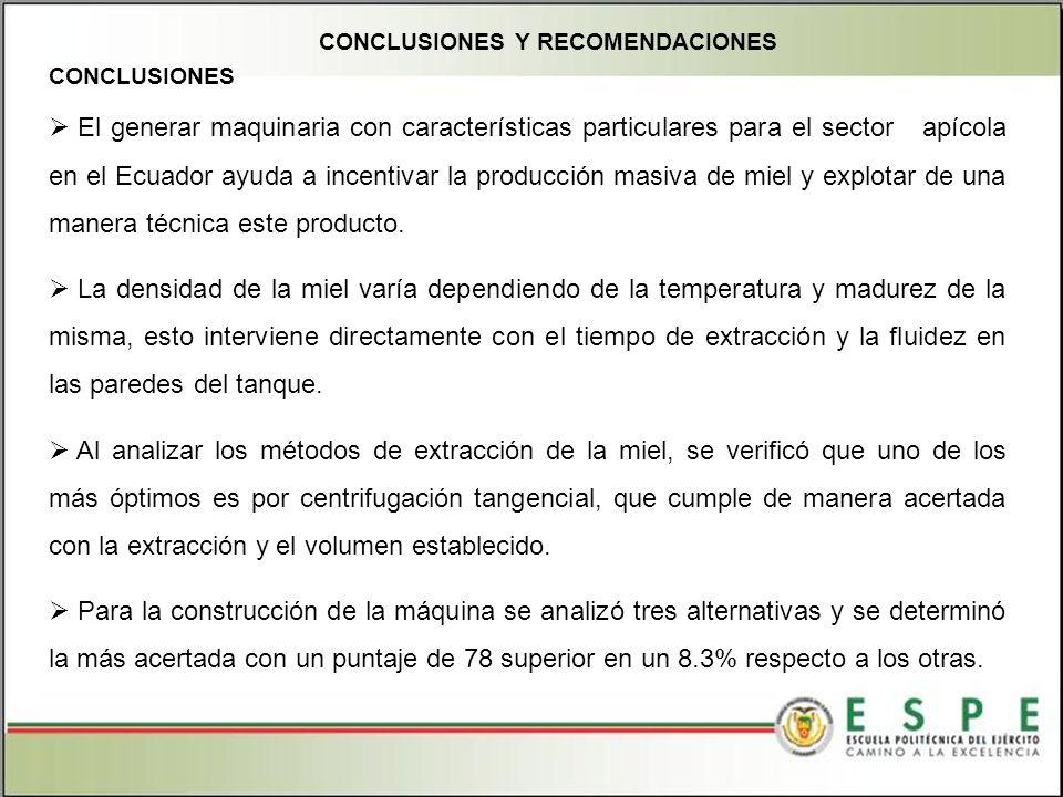 CONCLUSIONES Y RECOMENDACIONES El generar maquinaria con características particulares para el sector apícola en el Ecuador ayuda a incentivar la producción masiva de miel y explotar de una manera técnica este producto.