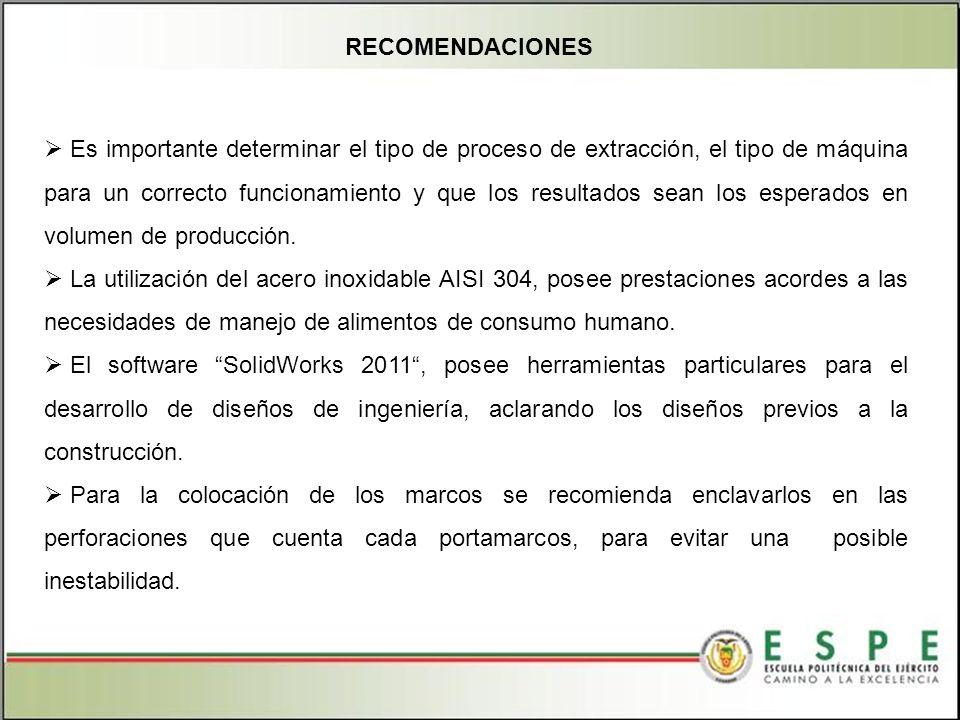 Es importante determinar el tipo de proceso de extracción, el tipo de máquina para un correcto funcionamiento y que los resultados sean los esperados en volumen de producción.