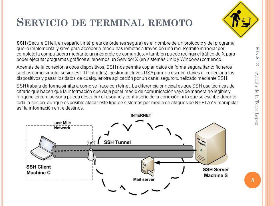 S ERVICIO DE TERMINAL REMOTO SSH (Secure SHell, en español: intérprete de órdenes segura) es el nombre de un protocolo y del programa que lo implementa, y sirve para acceder a máquinas remotas a través de una red.