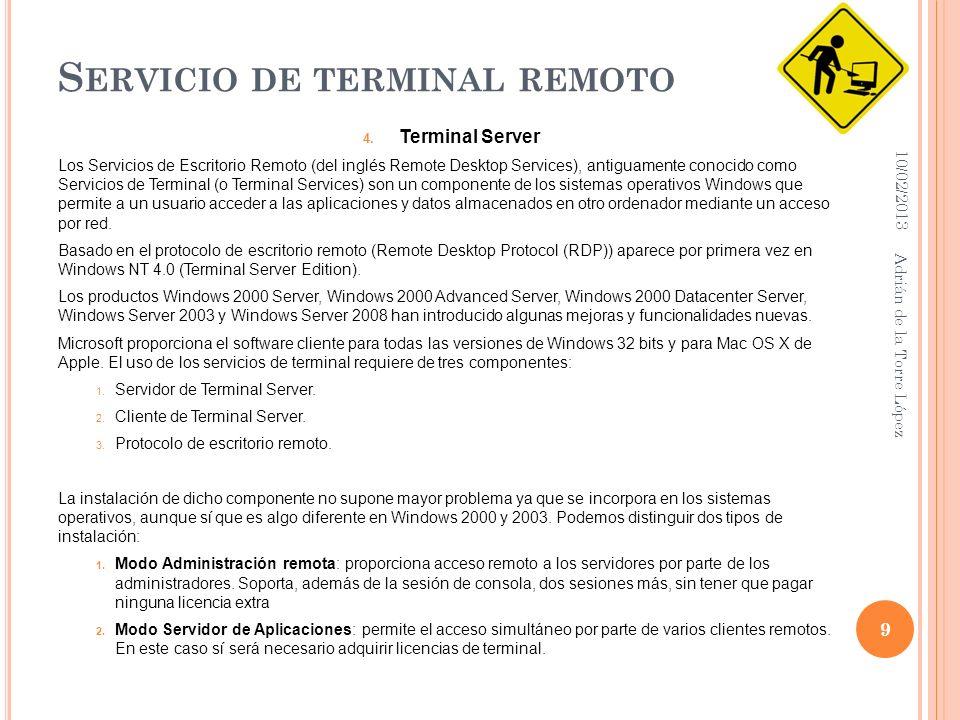 S ERVICIO DE TERMINAL REMOTO 4.
